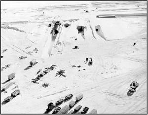 The northeast portal to Camp Century during construction in 1959 is shown. U.S. Army photo