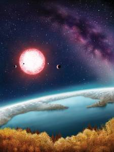 "Kepler-186f, seen here in an artist's rendering and discovered in 2014 by a team of astronomers including SF State's Stephen Kane, is one of more than 200 ""exoplanets"" that researchers say lie within the ""habitable zone"" of their stars and could potentially have life. Image: Danielle Futselaar"