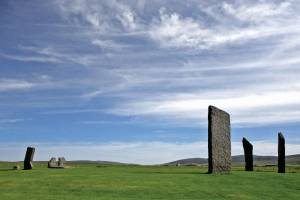 The great stone circle, Stenness on the Isle of Orkney, is situated in a'reverse' landscape. The project examined the alignments running from the center of circle through the stones on the circle's perimeter and the stone holes where stones formally stood (as revealed by excavation). This told us that the stone furthest to the right is oriented upon the last glimmer of a southern Moon occurring only every 18.6 years; the second stone is aligned towards the winter solstice sunset and the stone furthest to our left is aligned to the Moon as it sets into its most northern position every 18.6 years. These are astronomical events that could be seen 5000 years ago. Copyright Douglas Scott.