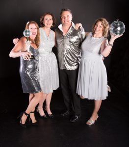 Ten Nevada County couples will compete for glory and the coveted mirror ball trophy at the 4th annual Dancing With Our Stars fundraiser at Veterans Memorial Auditorium on Saturday, August 20. Pictured local celebrities Kimberly Russel Pruett, Jason Fouyer, Rita Stevens, Shanin Ybarrondo (Kim Sayre photo credit)