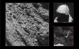 Main image and lander inset: ESA/Rosetta/MPS for OSIRIS Team MPS/UPD/LAM/IAA/SSO/INTA/UPM/DASP/IDA; context: ESA/Rosetta/NavCam – CC BY-SA IGO 3.0