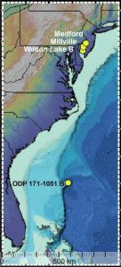Researchers have found apparent remnants of an extraterrestrial impact some 55 million years ago, in cores from three locations in southern New Jersey, and in a deep-seabed core off Bermuda. They say it is possible the impact kicked off a warm period often cited as the closest analog to today's rapid human-induced global warming. Credit: Schaller et al., Science, 2016