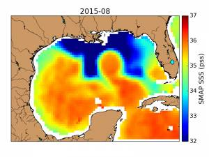 SMAP observed a horseshoe-shaped plume of freshwater (dark blue) in the Gulf of Mexico after Texas flooding in May 2015. Credit: NASA/JPL-Caltech