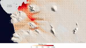 Flow speeds of Pope, Smith and Kohler glaciers. Credit: NASA/EO