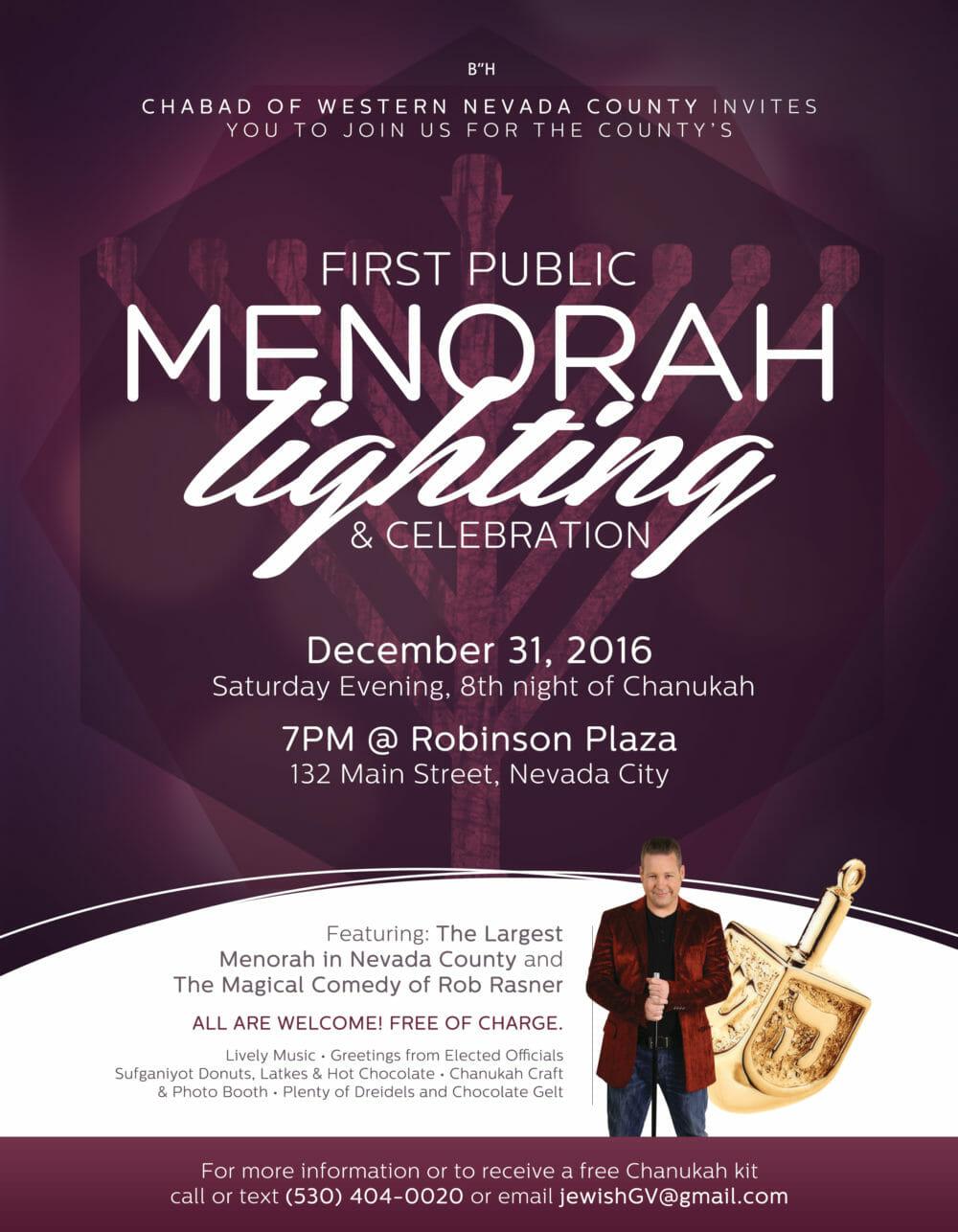 Public Menorah Lighting on New Year's Eve in Nevada City