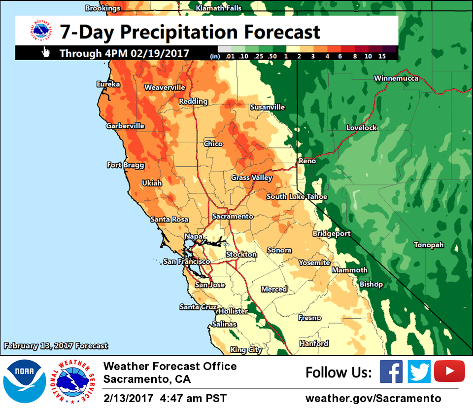 Dry through Tuesday active pattern across interior NorCal returns
