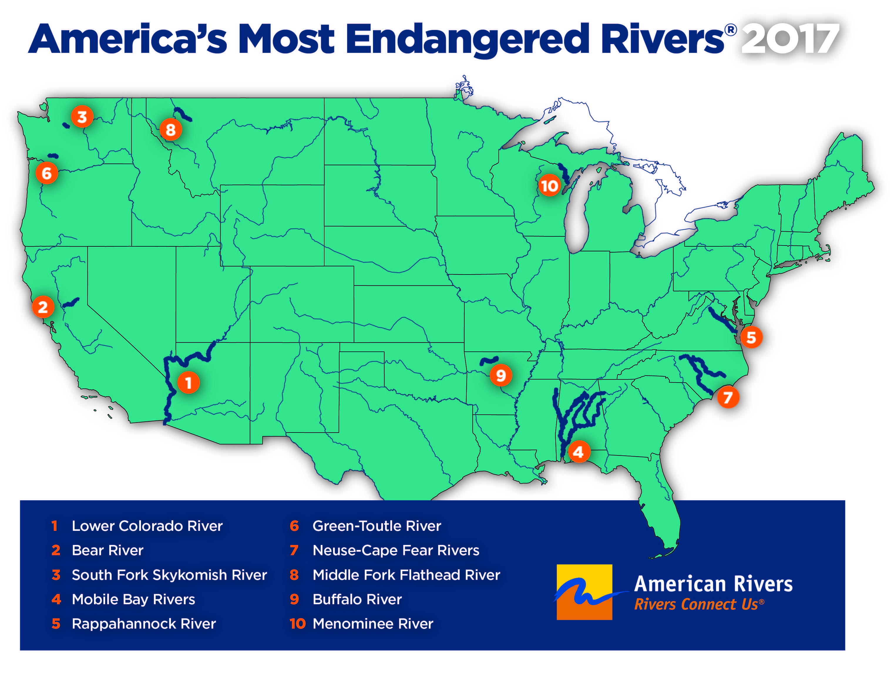 Map Of America Rivers.Bear River Among America S Most Endangered Rivers Of 2017 Yubanet