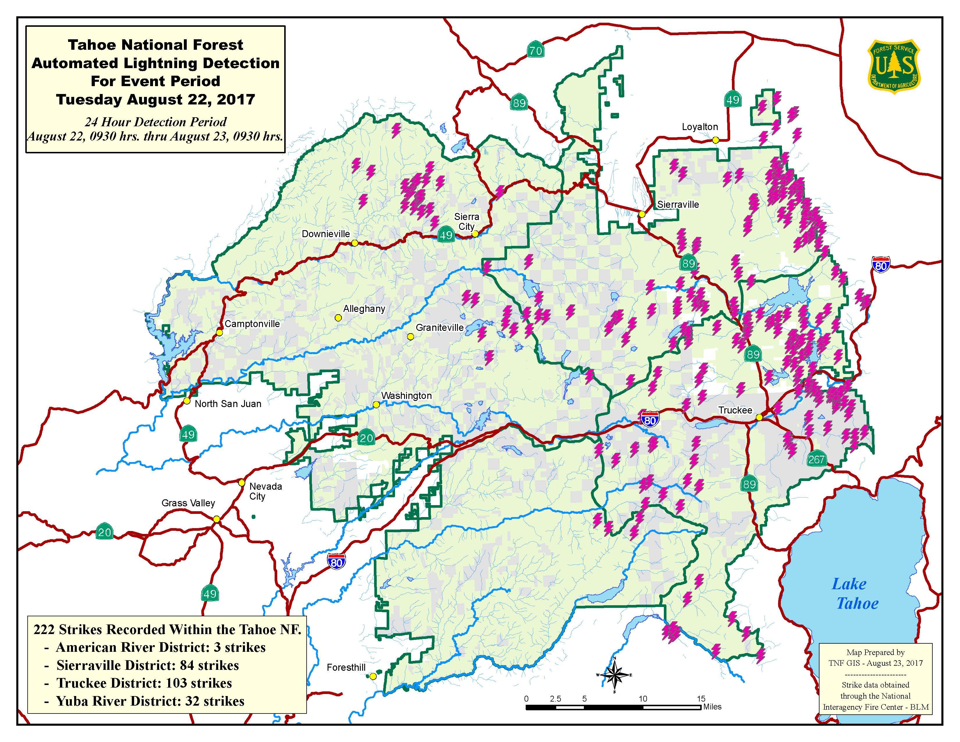 Lightning Map Strikes Hit The Tahoe National Forest In Less - Map of lightning strikes in the us