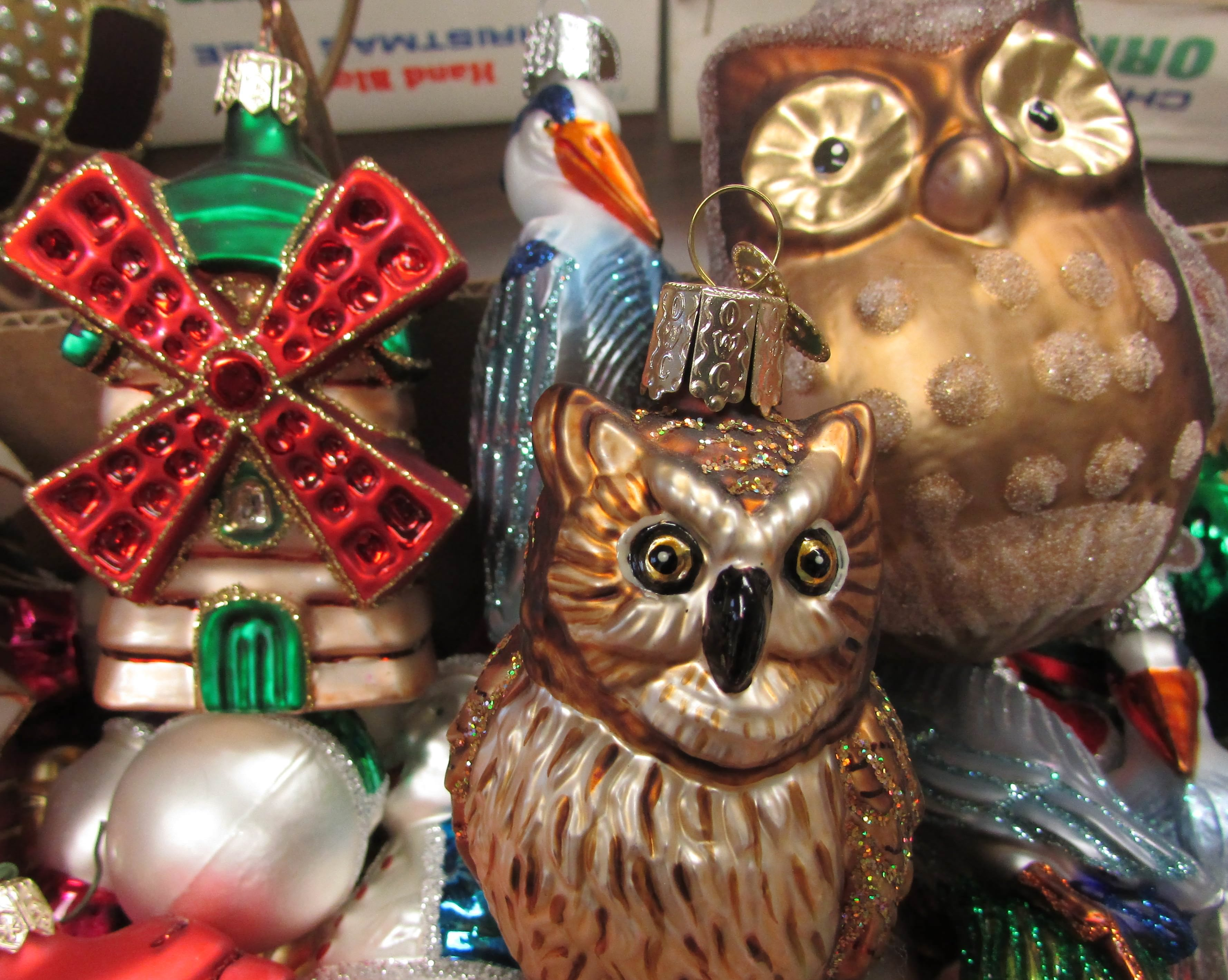 windmills cranes and owls are among the specialty hand blown hand painted and vintage christmas ornaments that will be offered during a rummage sale - Vintage Christmas Ornaments For Sale