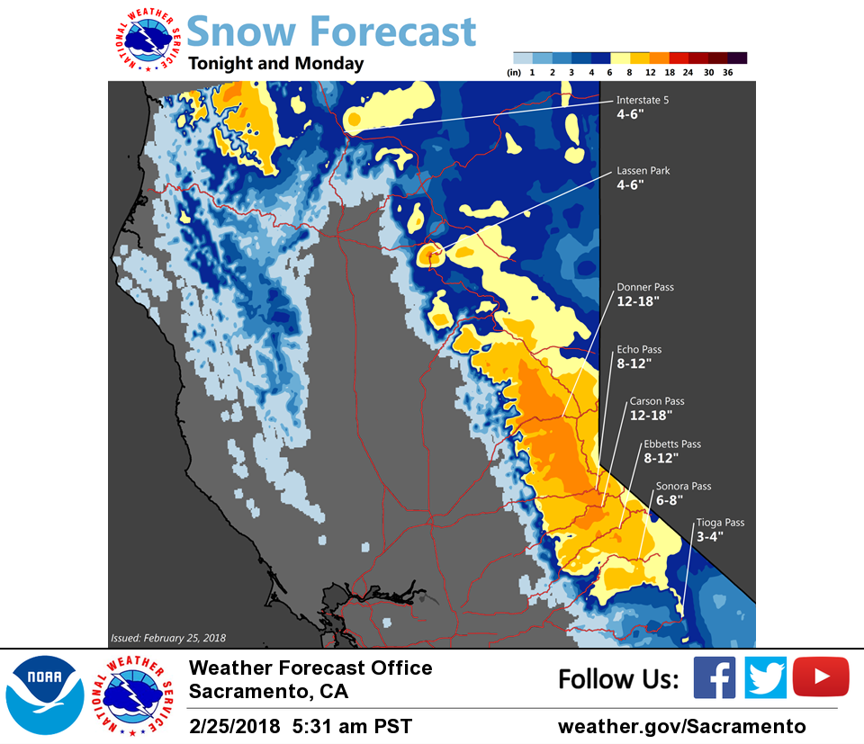 Winter Storm Watch Issued For Mother Lode & Sierra Nevada