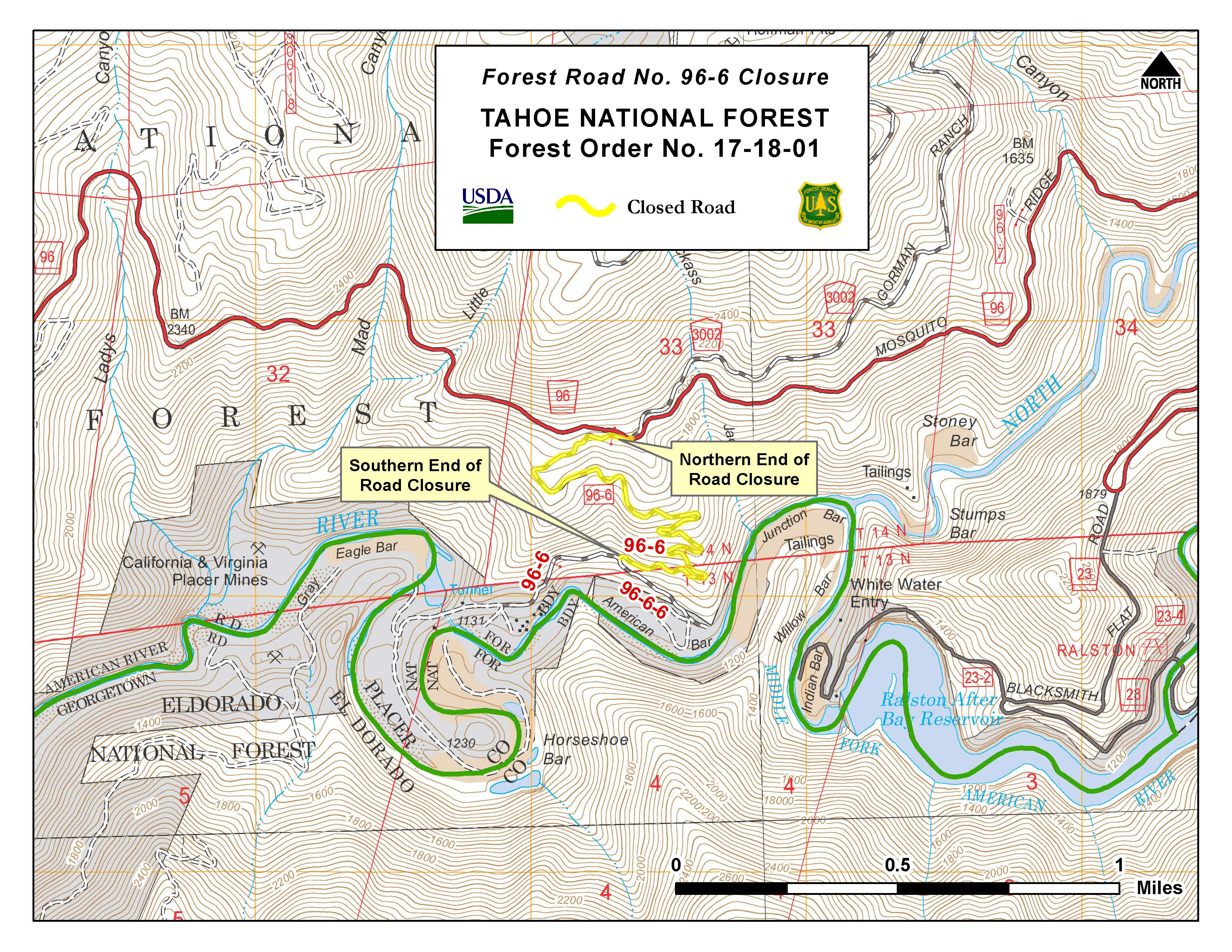 Tahoe National Forest Road Closure Order for road off ...