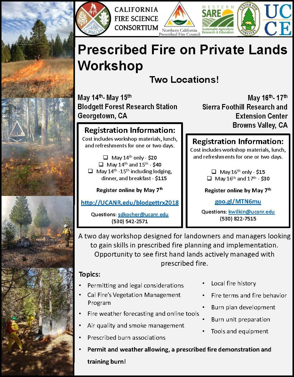 Prescribed Fire on Private Lands: Workshops in Georgetown and Browns