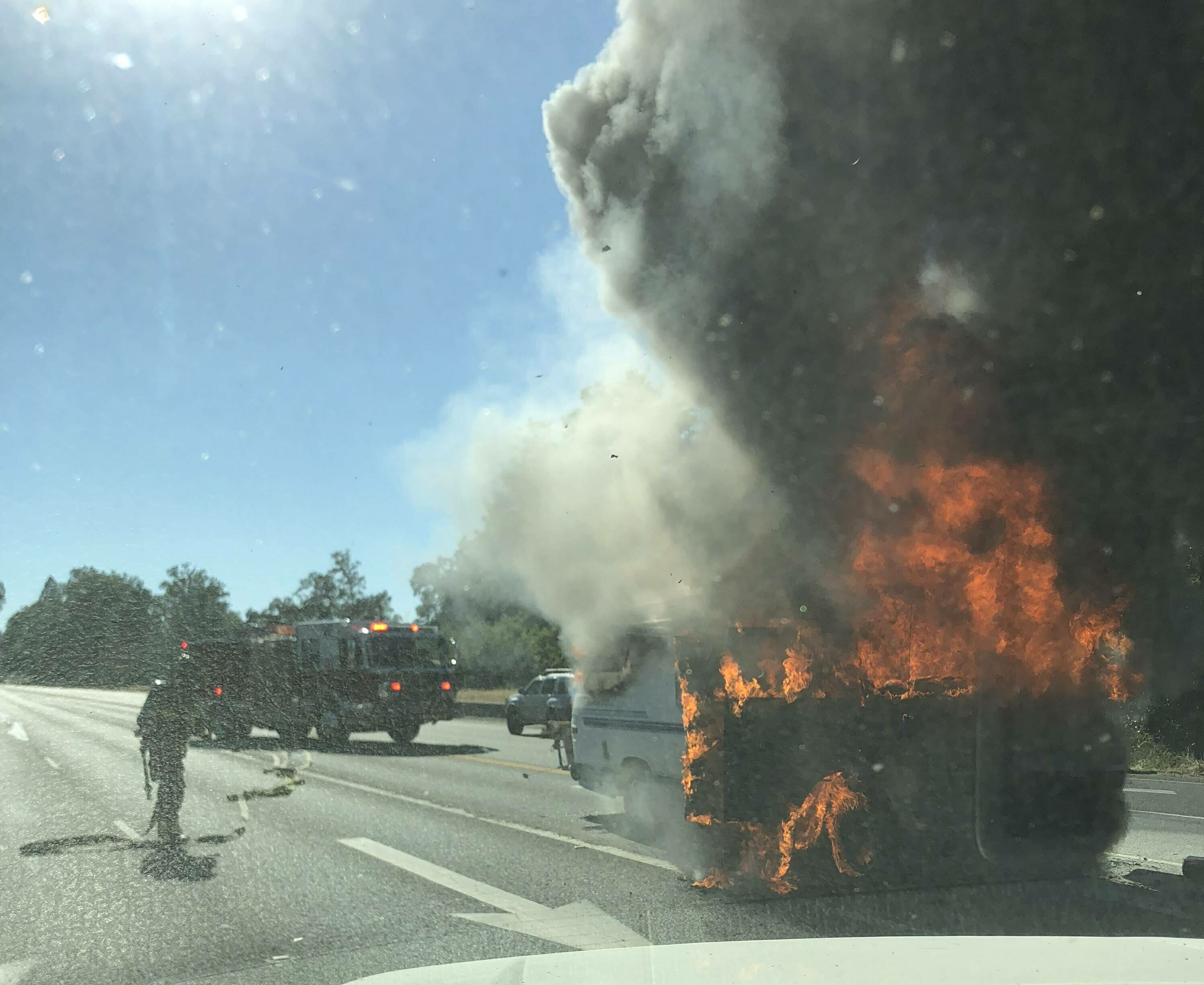 Vehicle fire on Hwy 20 quickly extinguished by firefighters